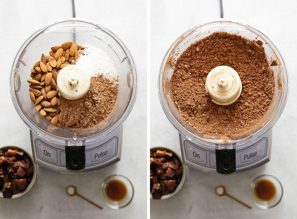 side by side photos showing the process of making a course flour in food processor.