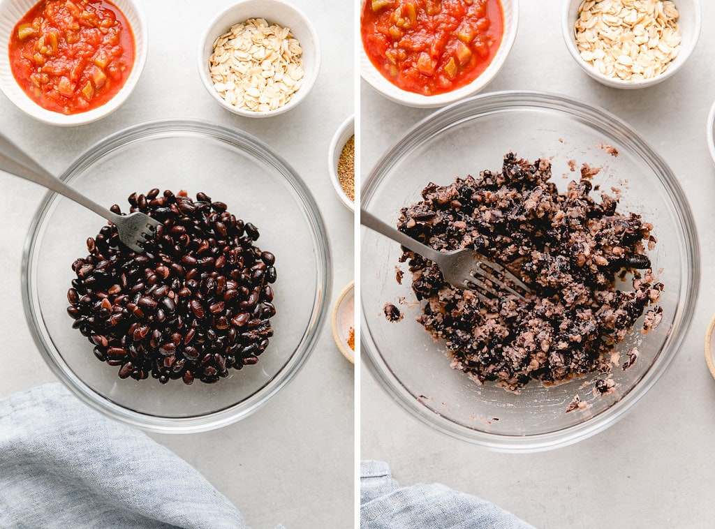 side by side photos showing process of mashing black beans in a bowl.