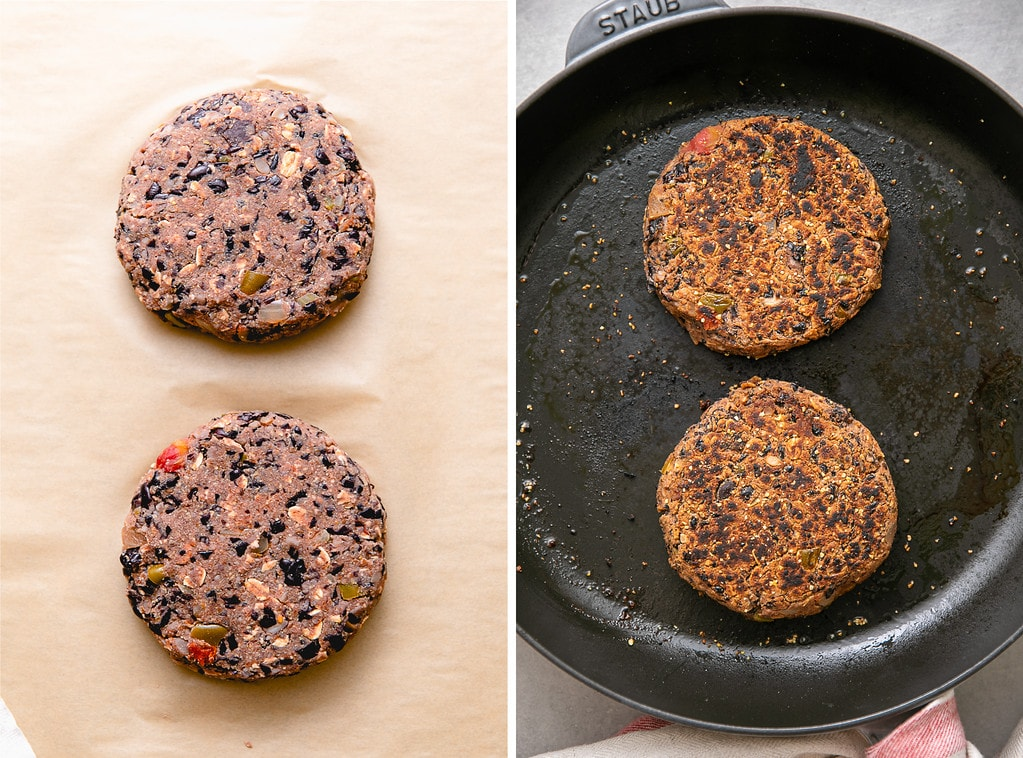 side by side photos of black bean burger patties before and after cooking.