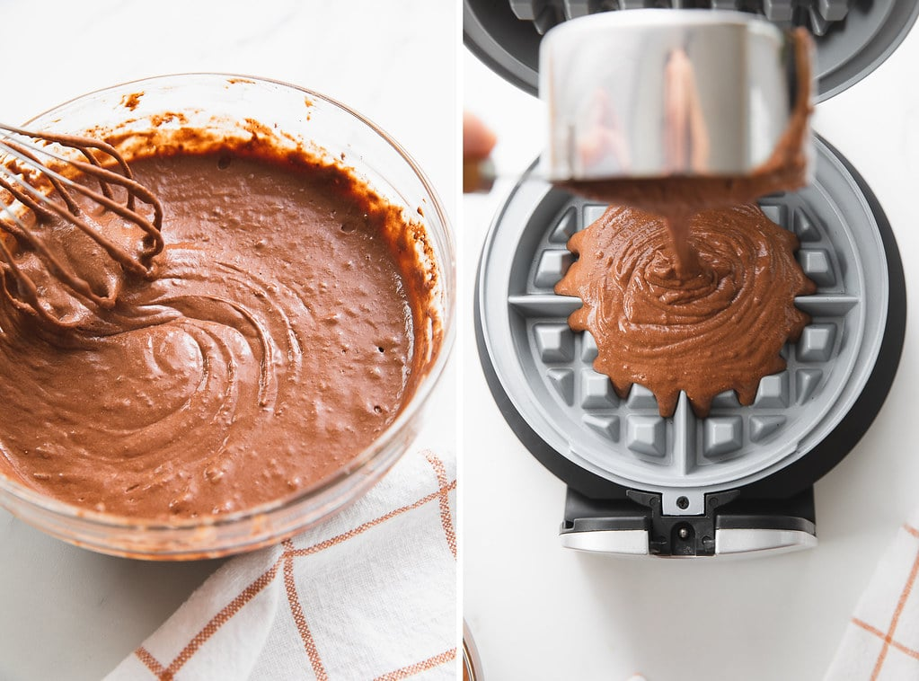side by side photos of fresh mixed batter being poured onto belgian waffle maker.