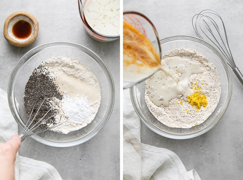 side by side photos showing the process of making vegan lemon chia seed pancake batter.