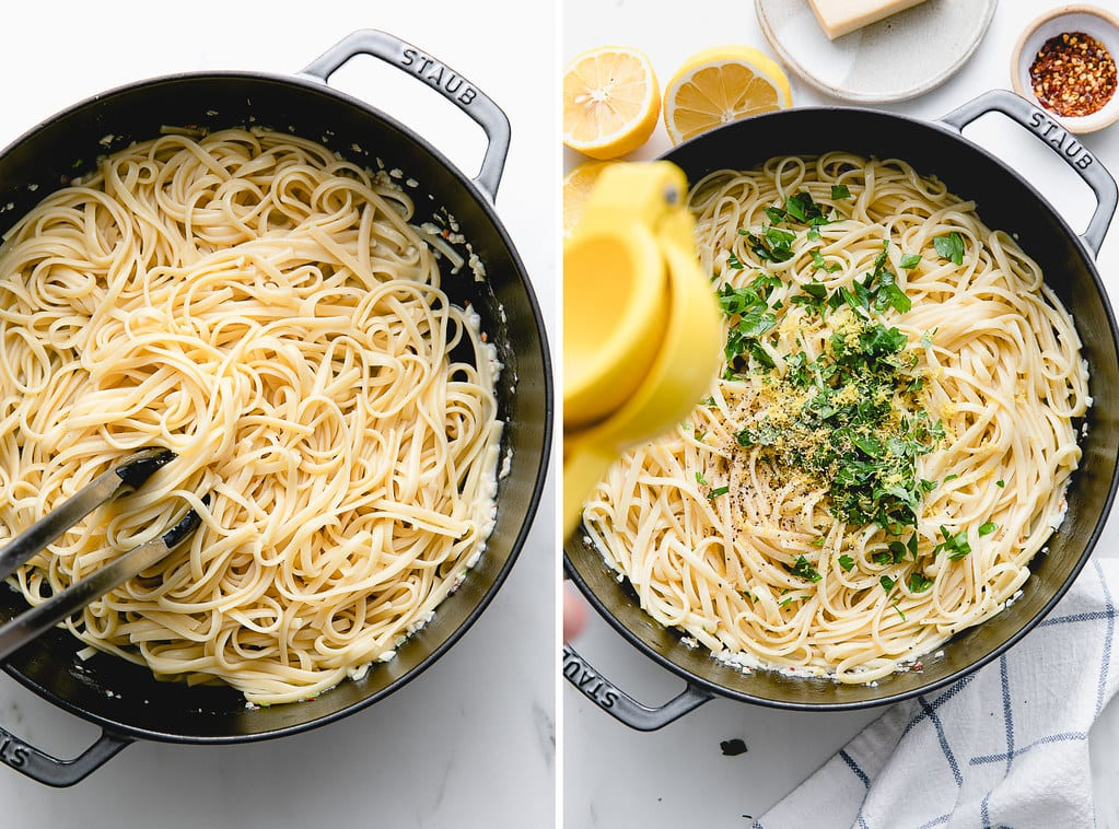 side by side photos showing the process of making garlic lemon pasta.
