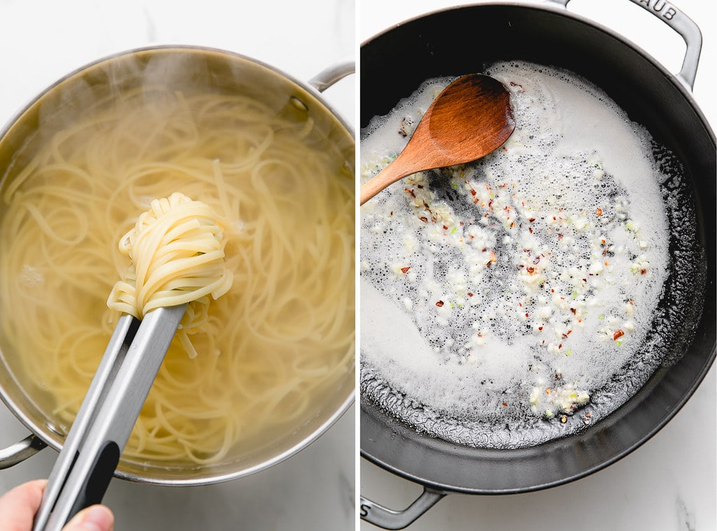 side by side photos showing the process of boiling pasta and sauteing garlic in butter.