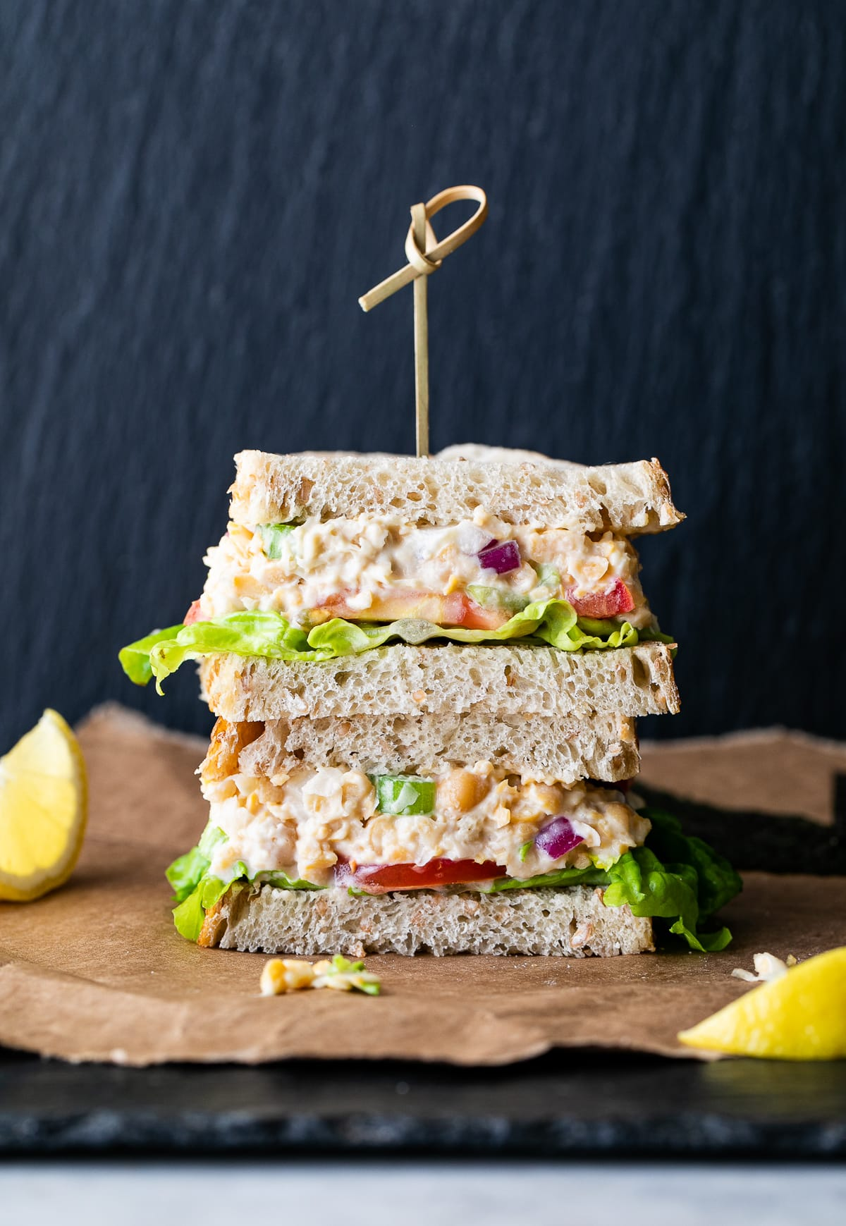 head on view of two halves of vegan chickpea tuna salad stacked.
