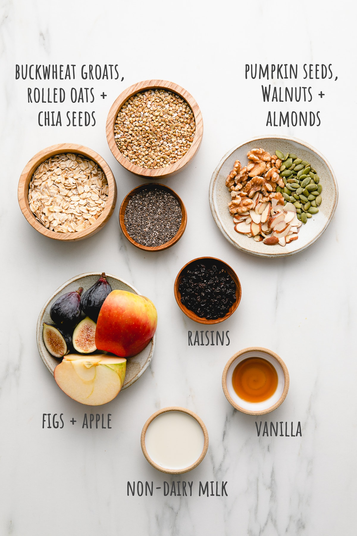 top down view of ingredients used to make healthy bircher muesli recipe.