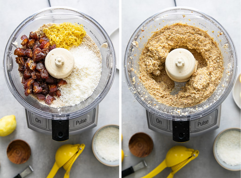 side by side photos showing the process of blending ingredients in a food processor.