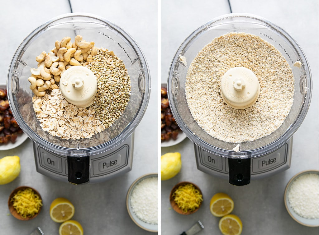 side by side photos showing the process of blending cashews, buckwheat groats and oats in a food processor.