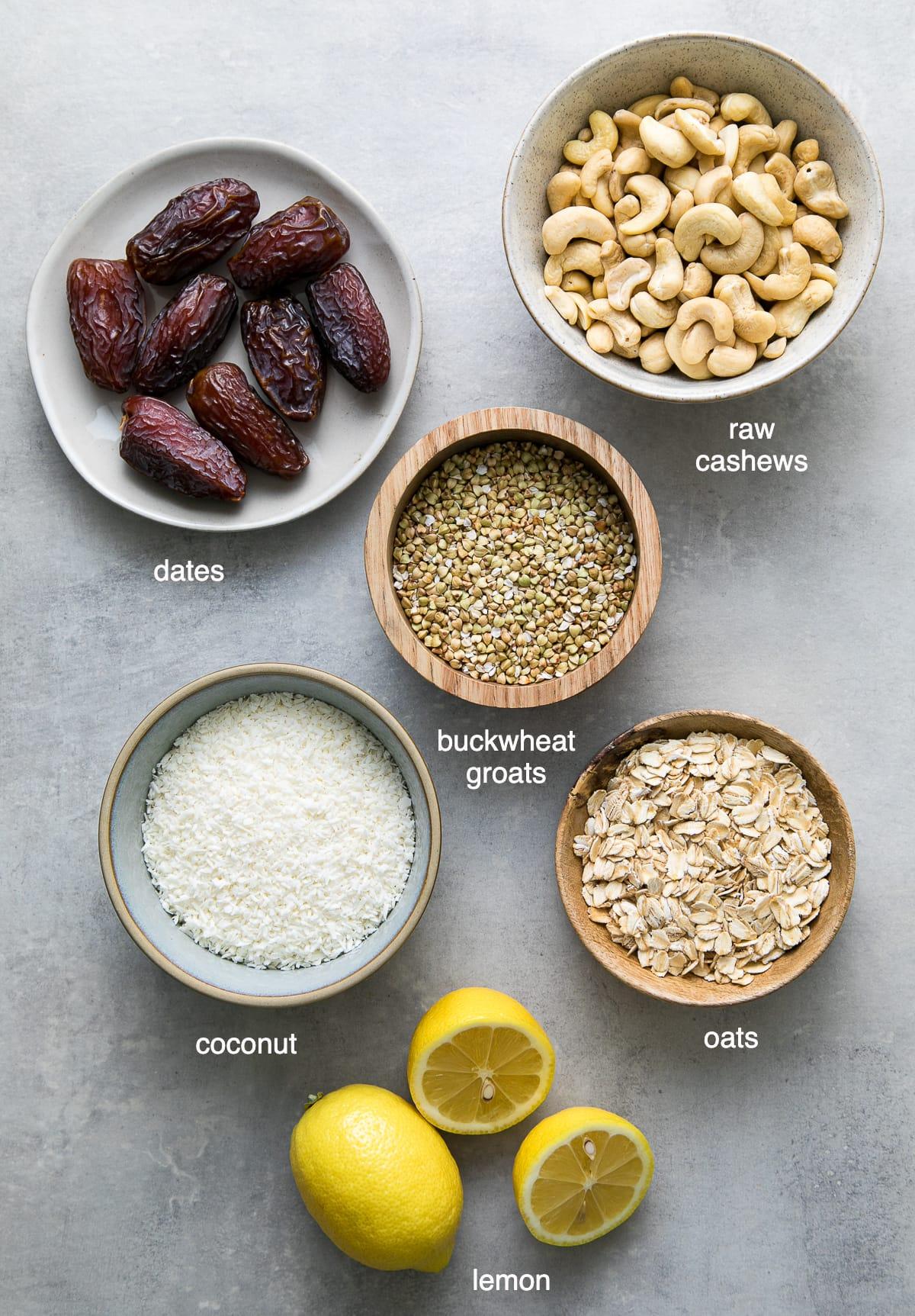 top down view of ingredients used to make coconut lemon energy bites recipe.