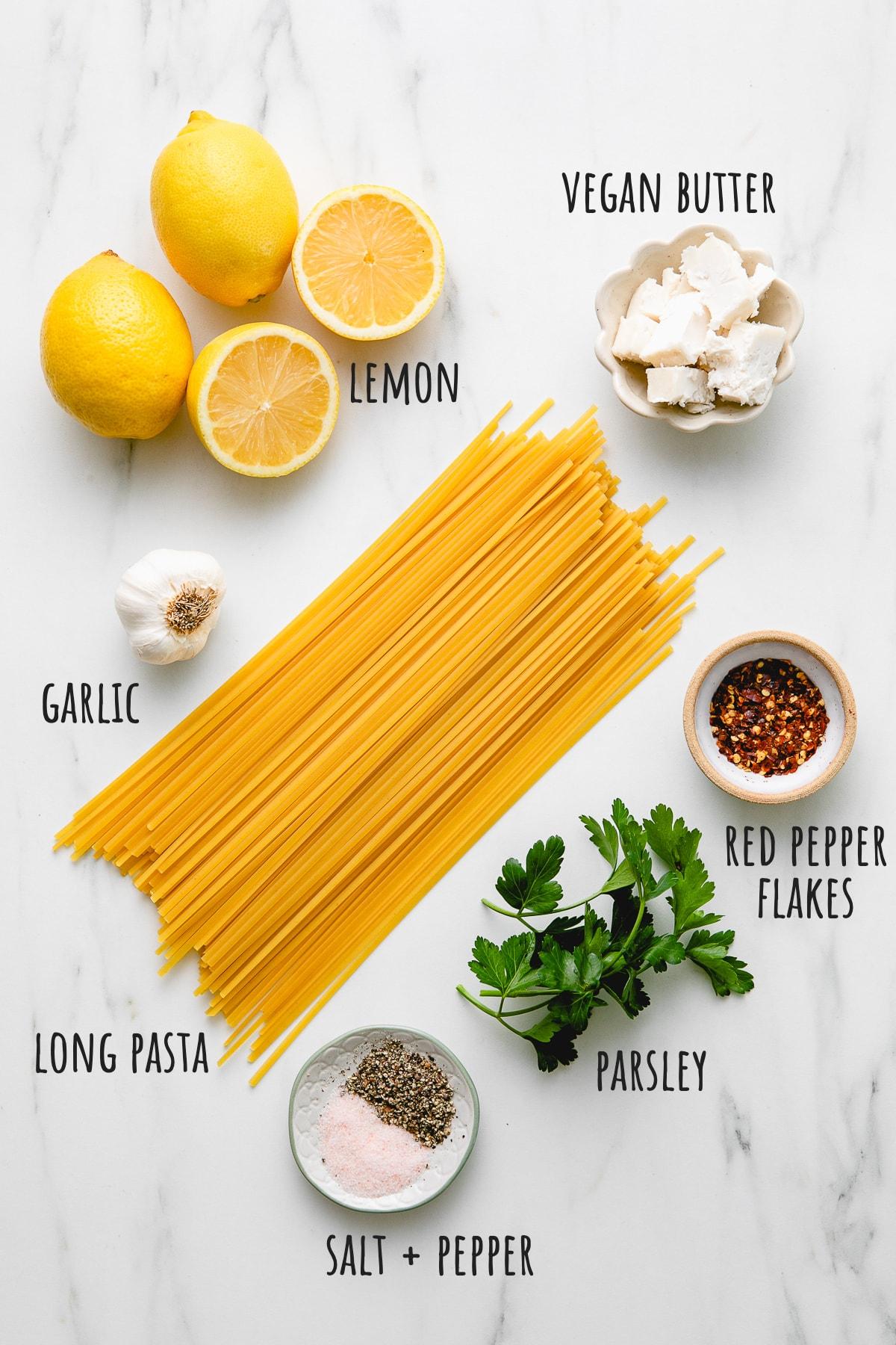 top down view of ingredients used to make garlic lemon pasta recipe.