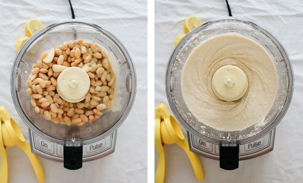 side by side comparison of ingredients for white bean hummus added to the bowl of food processor, next to hummus blended and ready to serve.
