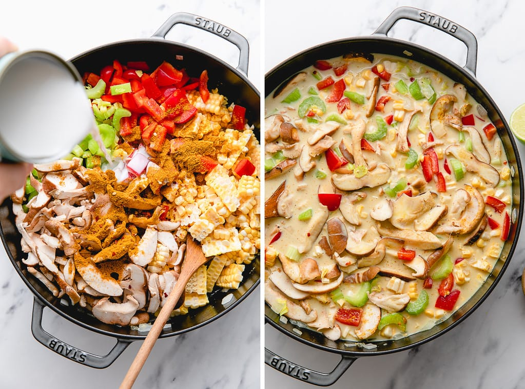 side by side photos showing the process of making coconut curry corn soup.