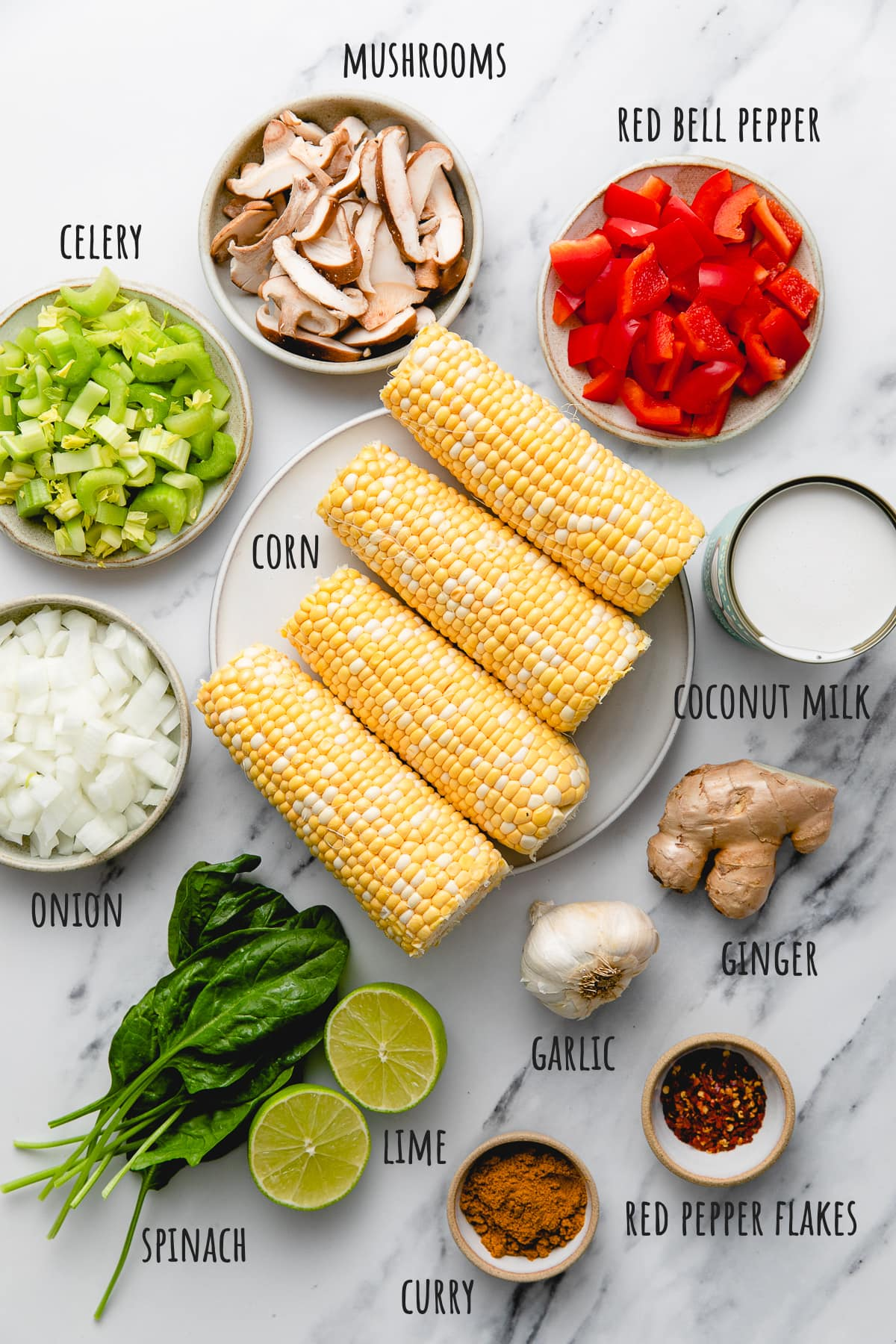 top down view of ingredients used to make vegan thai coconut curry corn soup recipe.