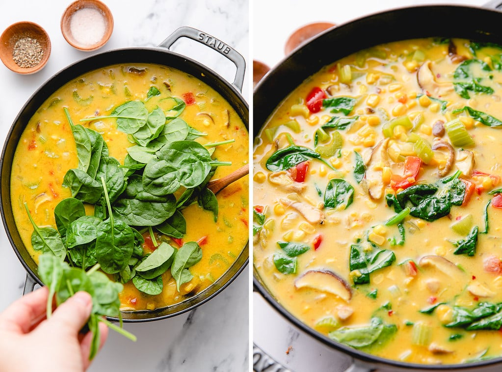 side by side photos showing the process of adding spinach to coconut corn curry soup.