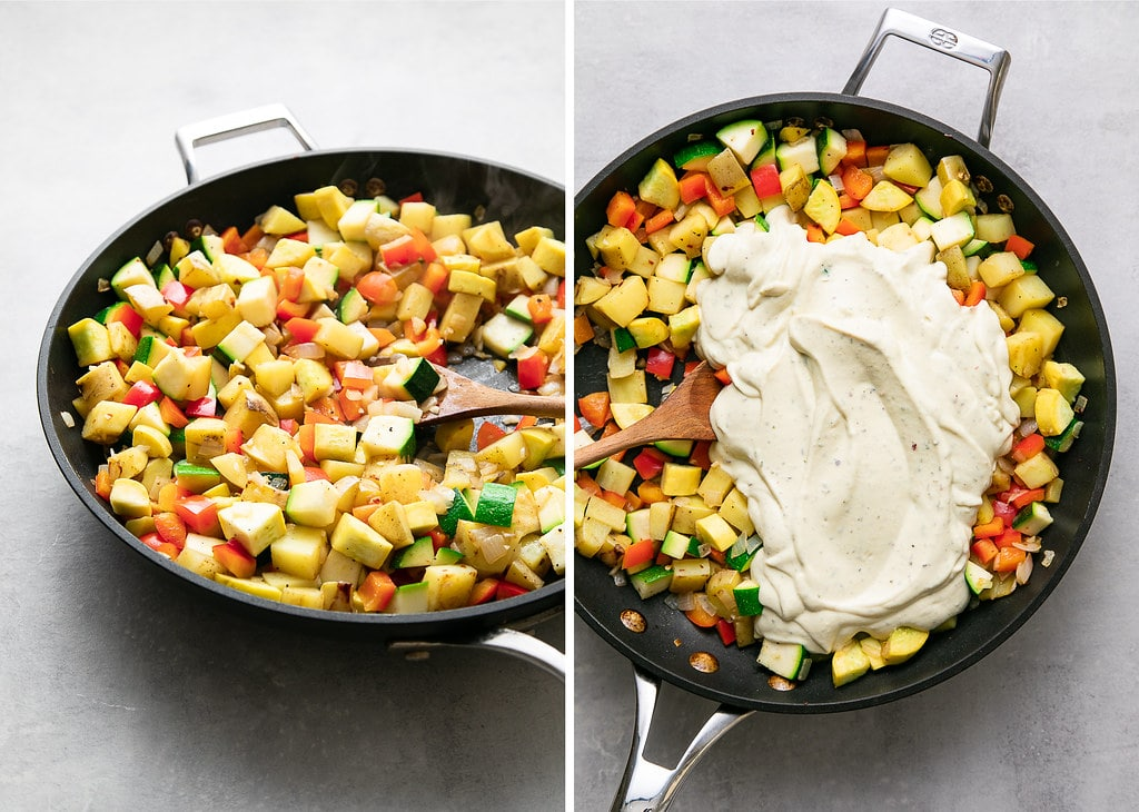 side by side photos showing the process of mixing vegetables and vegan egg replacer for vegetable frittata.
