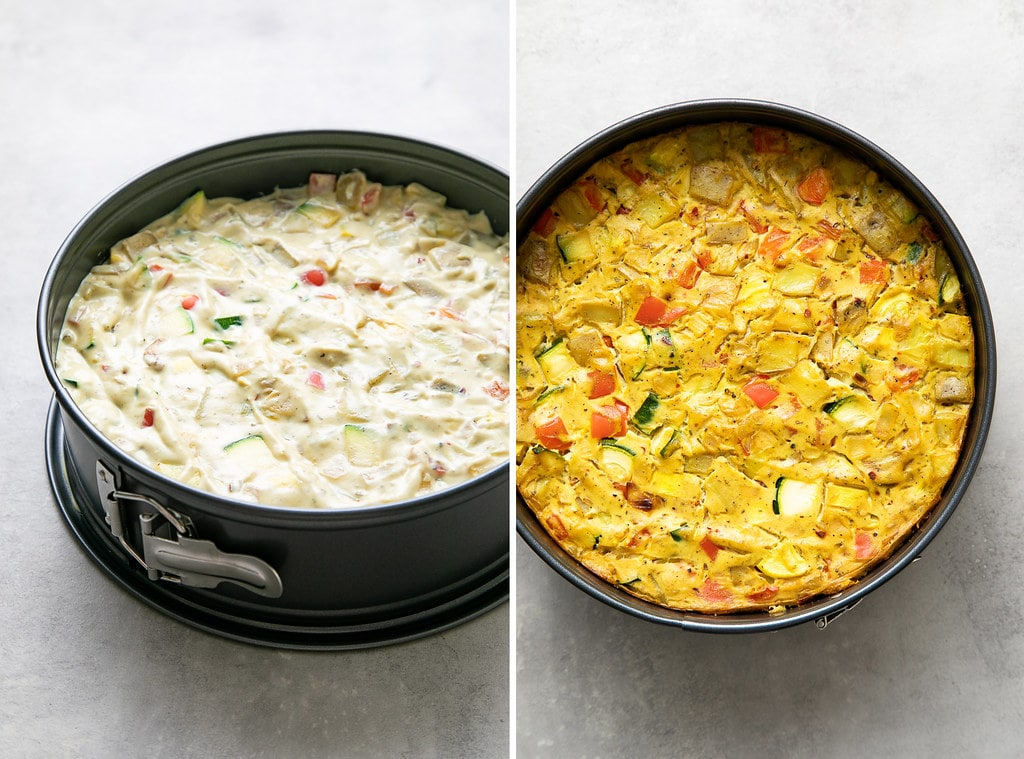 side by side photos showing the process of filling springform pan with vegan vegetable frittata mixture.
