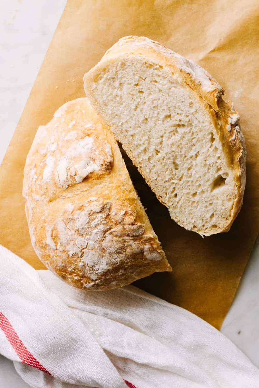 artisan bread freshly cut in half
