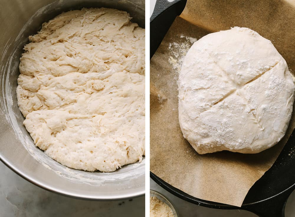 artisan bread recipe done rising and dough placed in skillet and ready for the oven