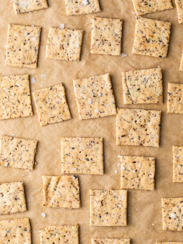 top down view of freshly made crackers with almond flour.