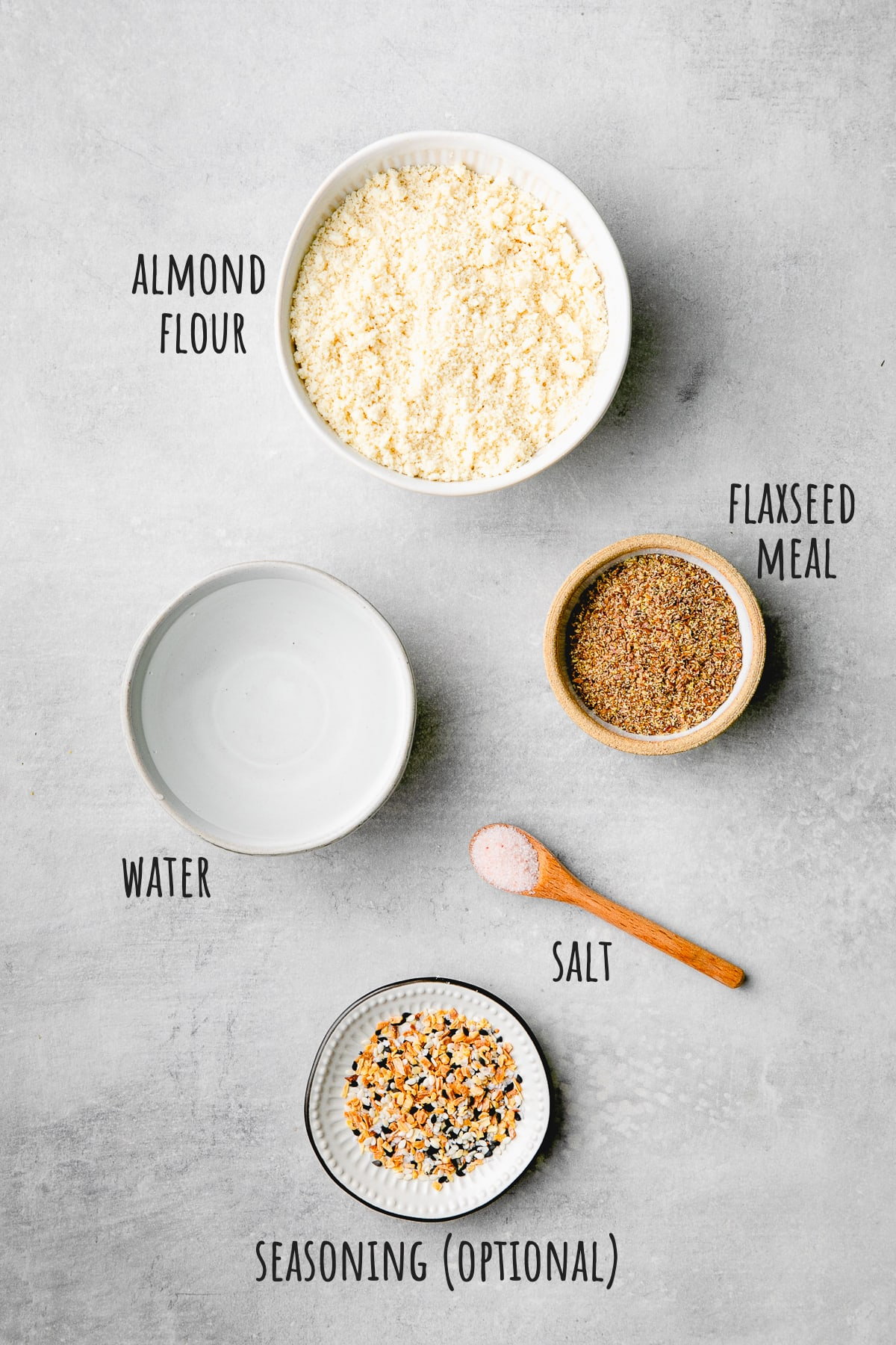 top down view of ingredients used to make almond flour crackers.