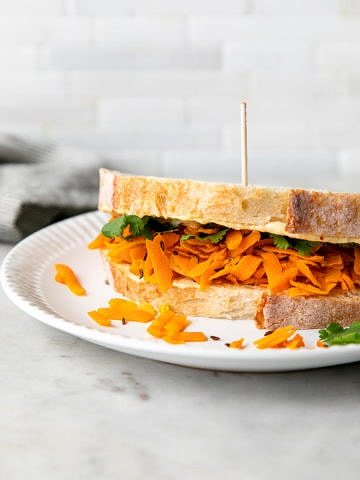 side angle view of carrot and hummus sandwich on a white plate.