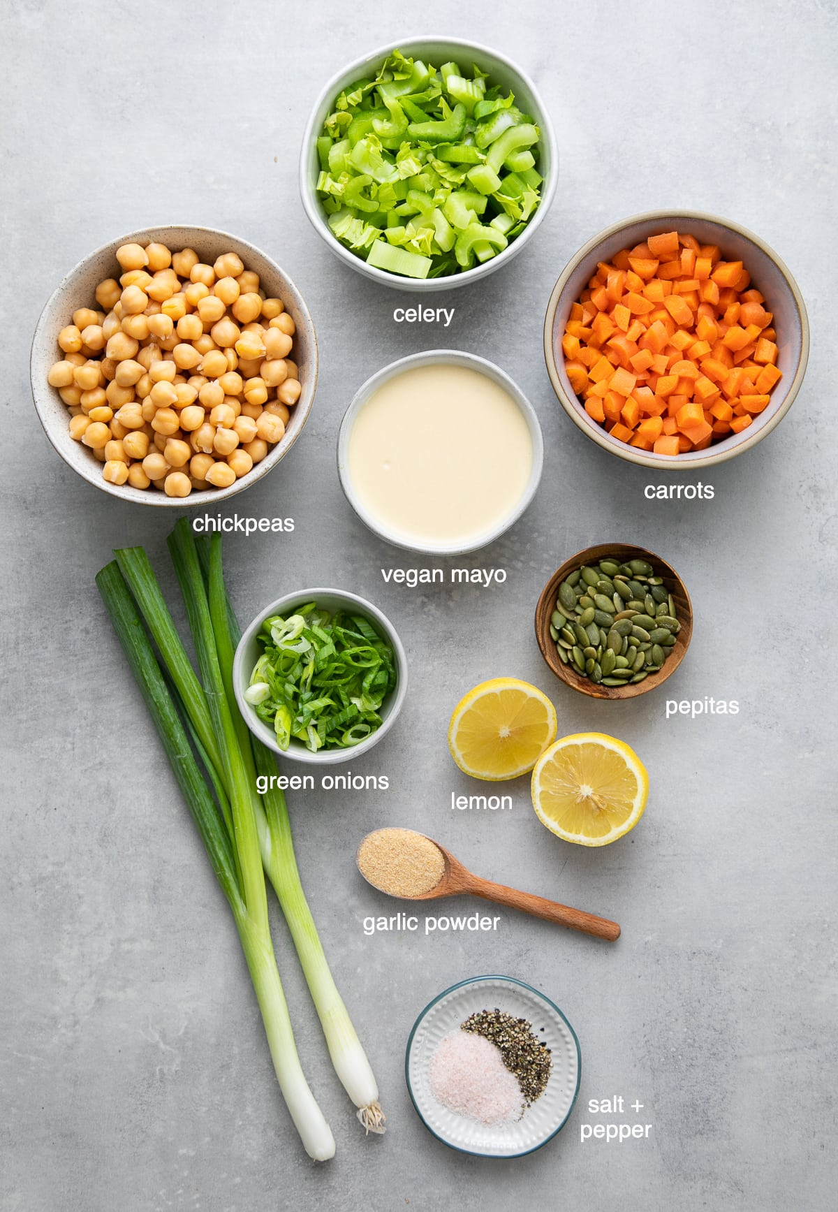 top down view of ingredients used to make the best mashed chickpea salad.