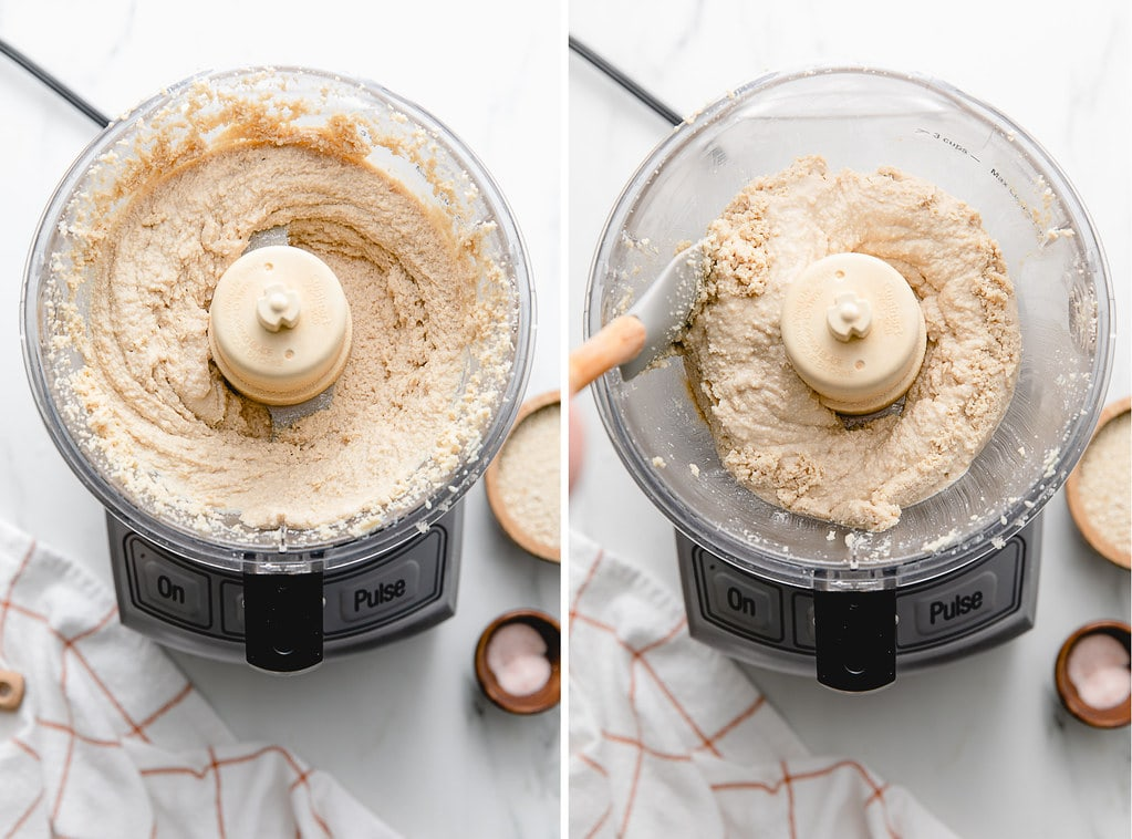 side by side photos showing tahini recipe steps.