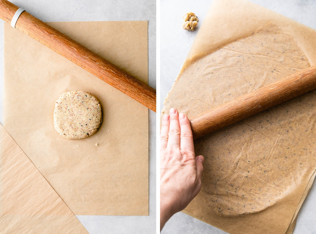 side by side photos showing the process of rolling cracker dough made with almond flour.