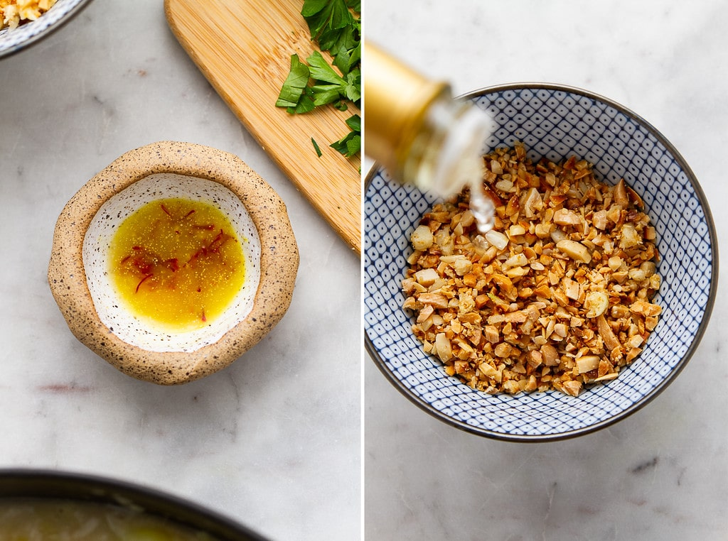side by side photos showing the process of making saffron potato leek soup.
