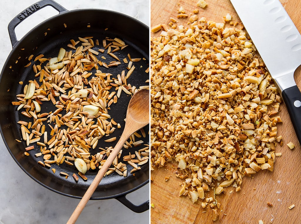 side by side photos showing the process of making fried almond and garlic.