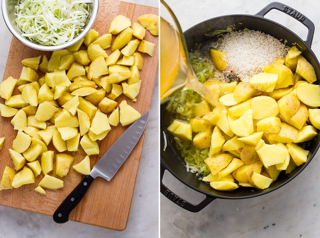 side by side photos showing the process of making saffron potato leek soup recipe.