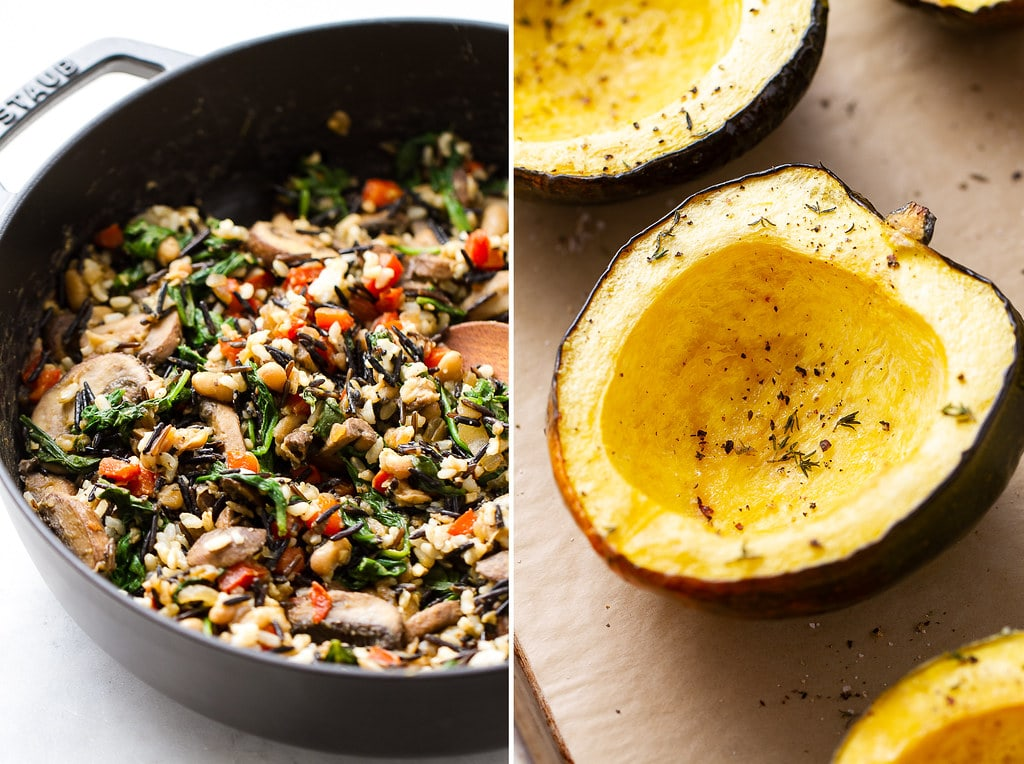 side by side photo of wild rice medley and halved and roasted acorn squash.