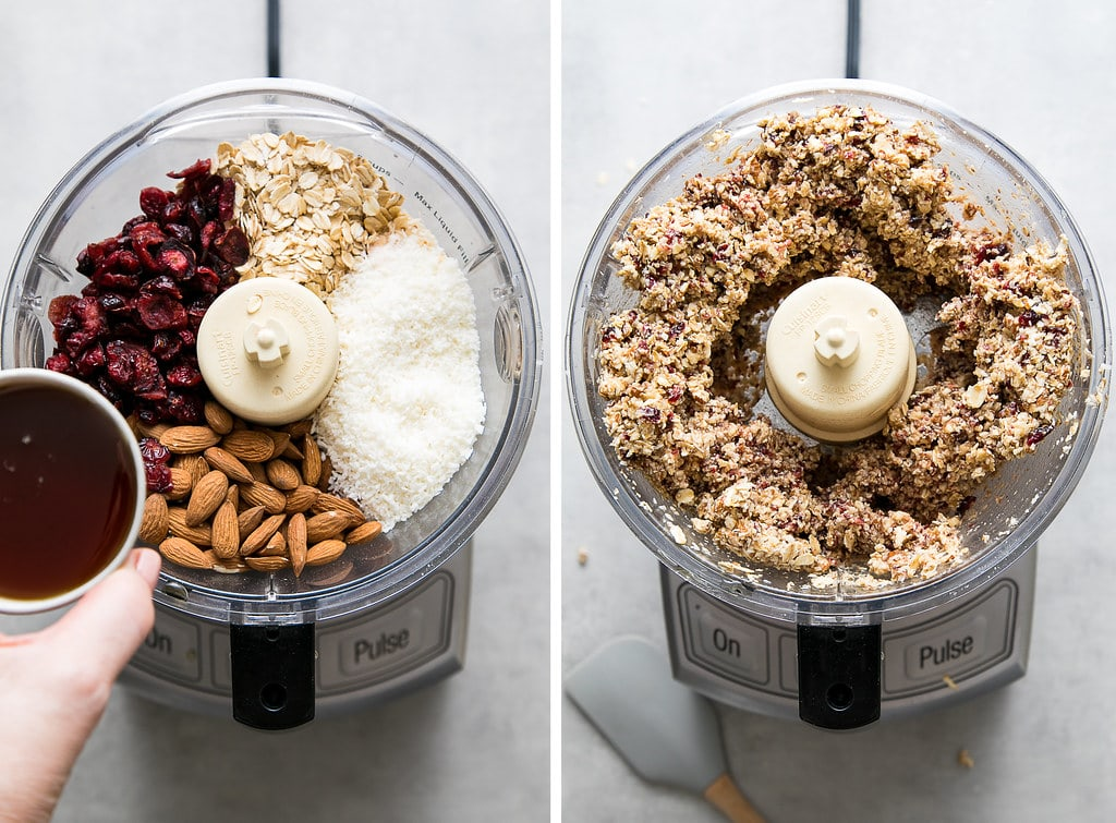 side by side photos showing the process of making cranberry almond energy bite dough.