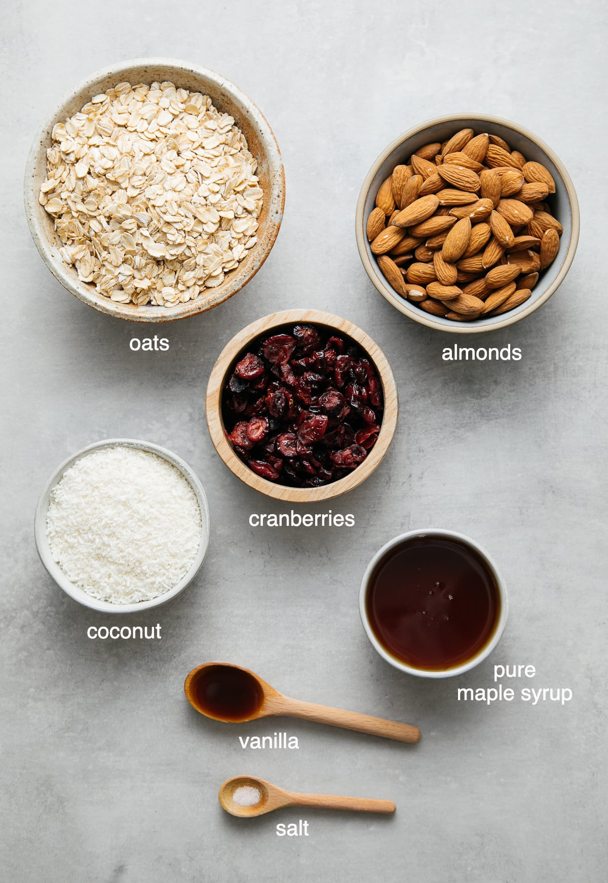 top down view of the ingredients used to make no bake cranberry almond energy bites.