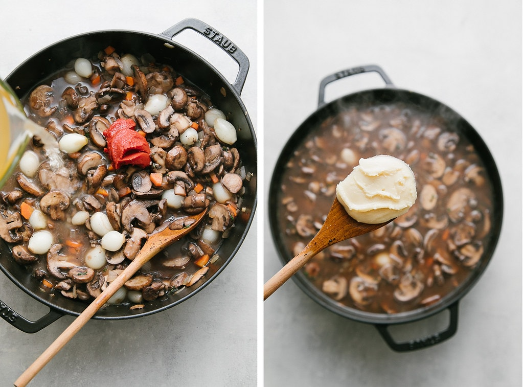 top down view showing the process of making mushroom bourguinon.