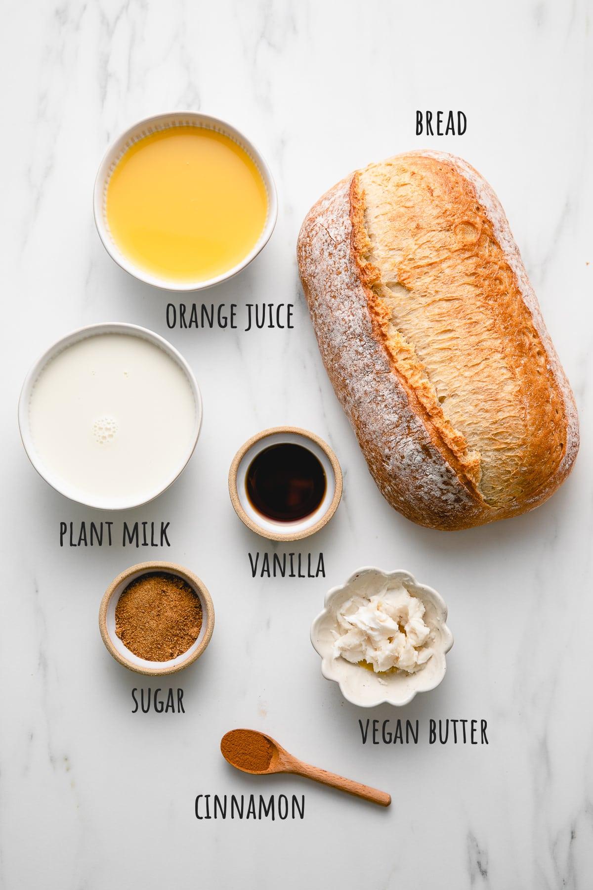 top down view of ingredients used to make vegan orange french toast recipe.