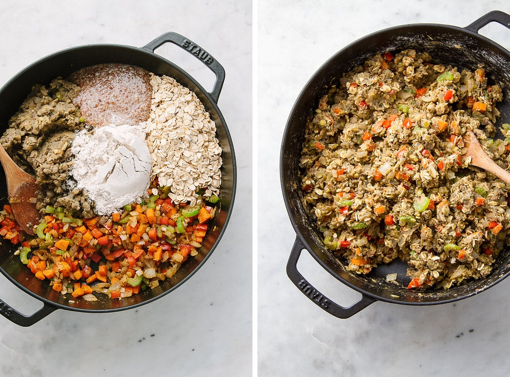 side by side photos showing the process of mixing the vegetable lentil loaf mixture.