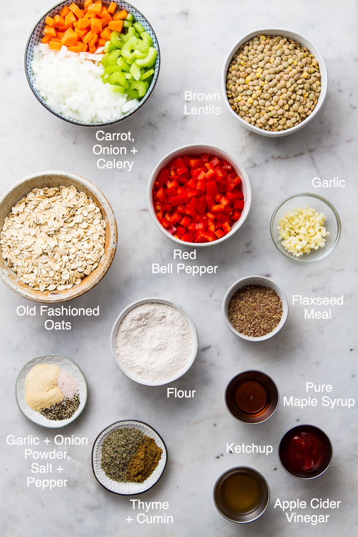 top down view of ingredients used to make vegetable lentil loaf recipe.