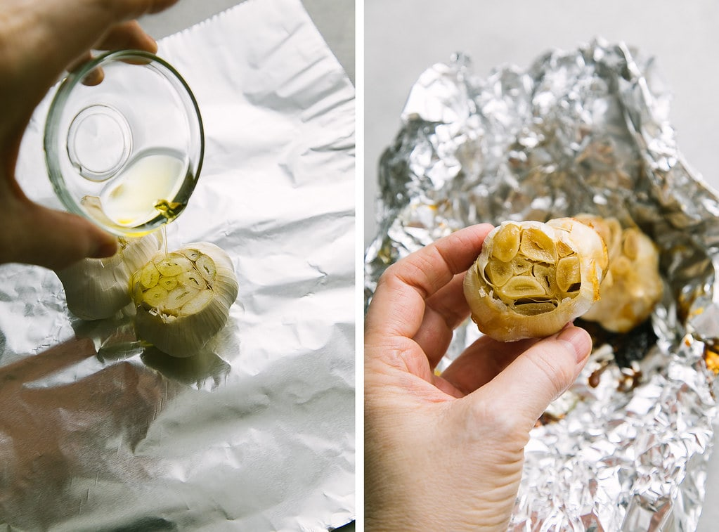side by side photos showing the process of making roasted garlic.
