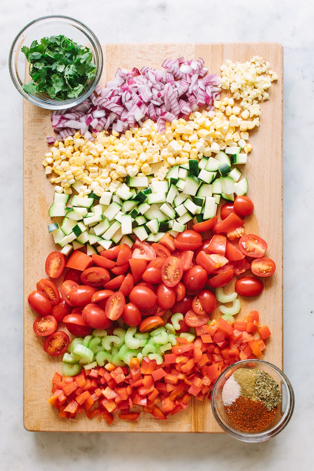 top down view of chopped vegetables for raw veggie chili.