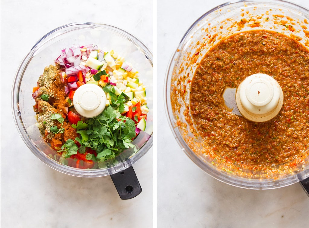 side by side photos of the process of making raw vegetable chili with a food processor.