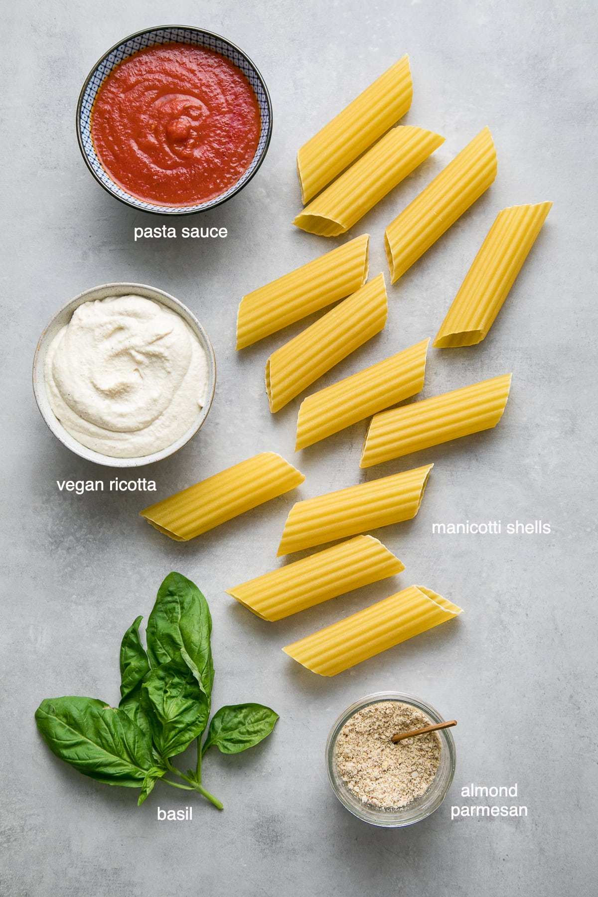 top down view of ingredients used to make vegan manicotti pasta recipe.