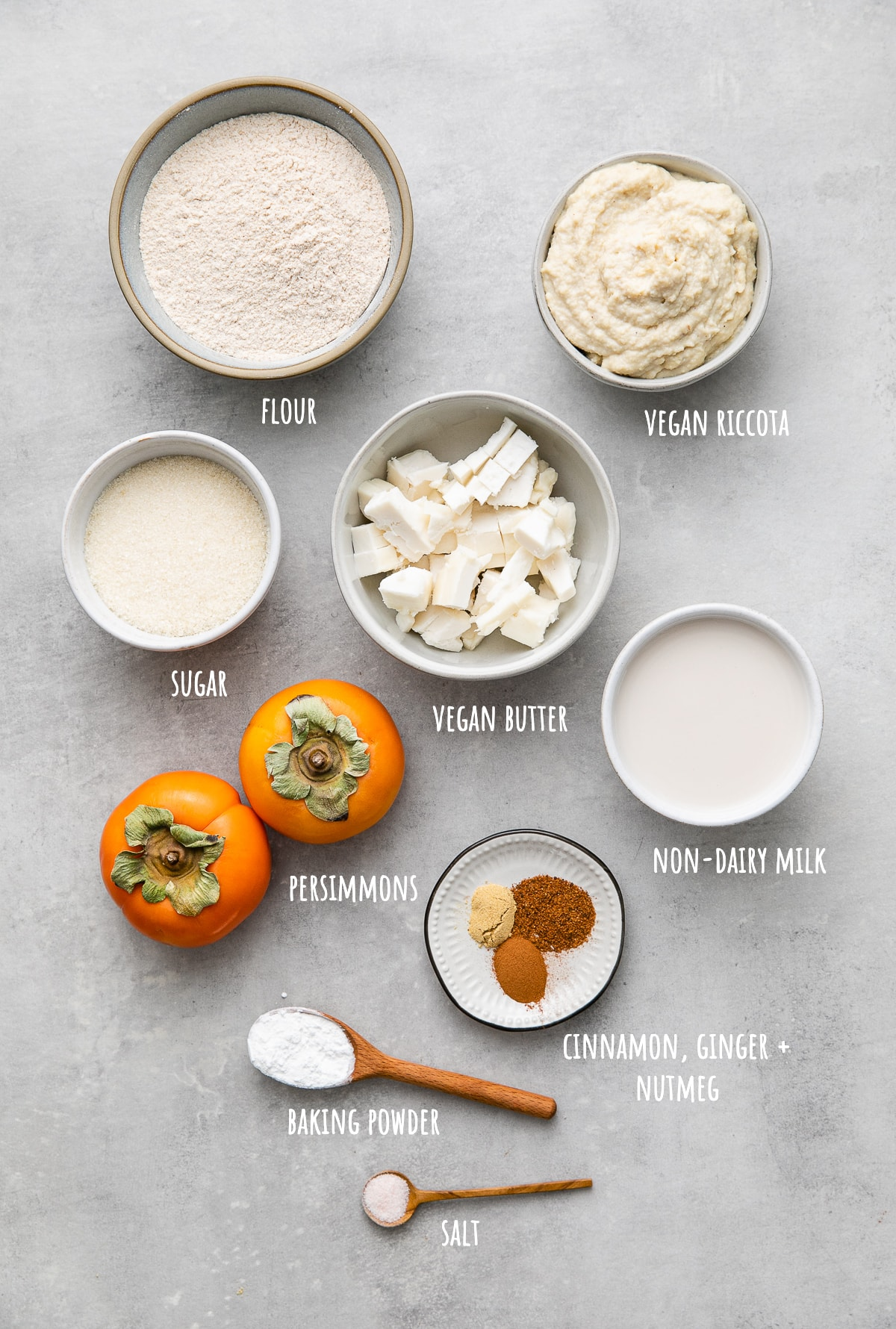 top down view of ingredients used to make healthy vegan persimmon ricotta scones.