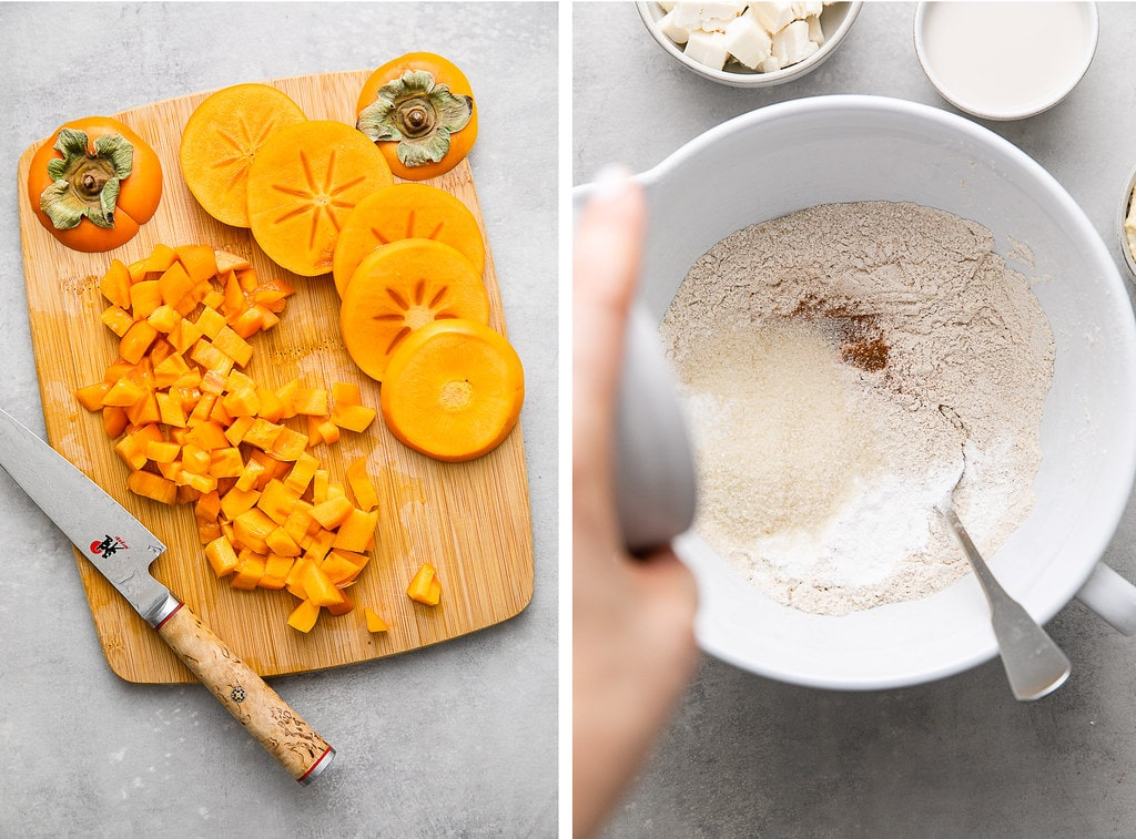 side by side photos of persimmons prepped and mixing dry ingredients together.