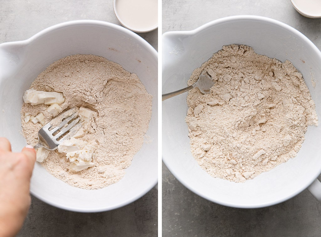 side by side photos showing the process of cutting in butter to vegan scone dough.