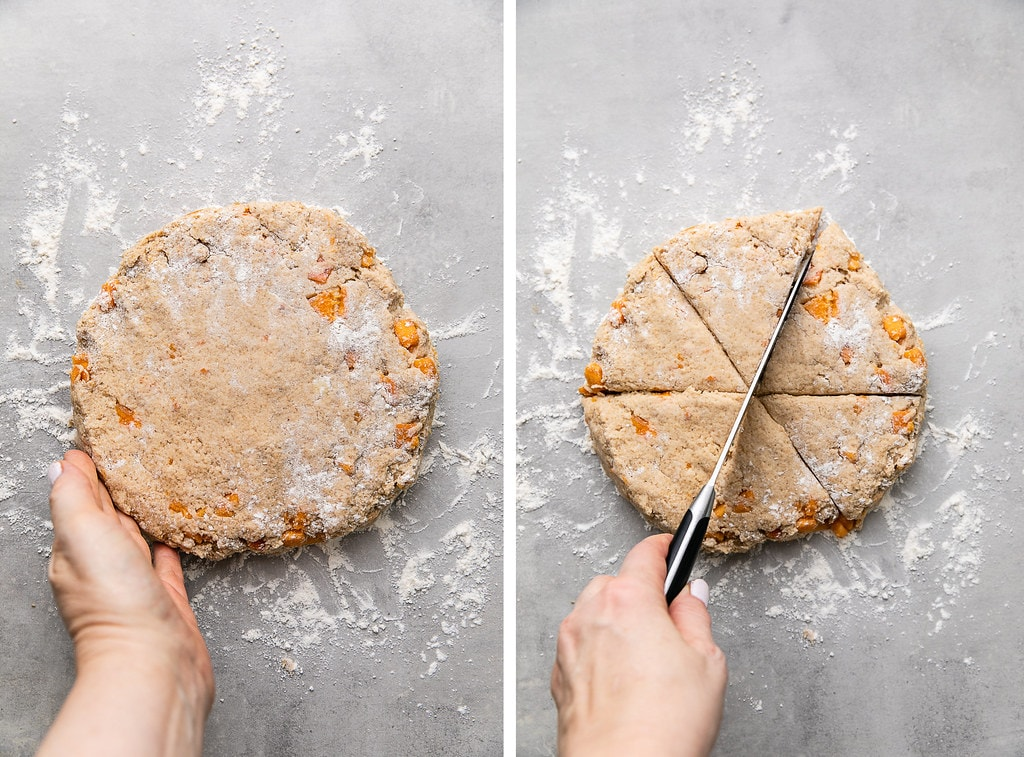 side by side photos of shaped scone dough and cutting into 6 slices.