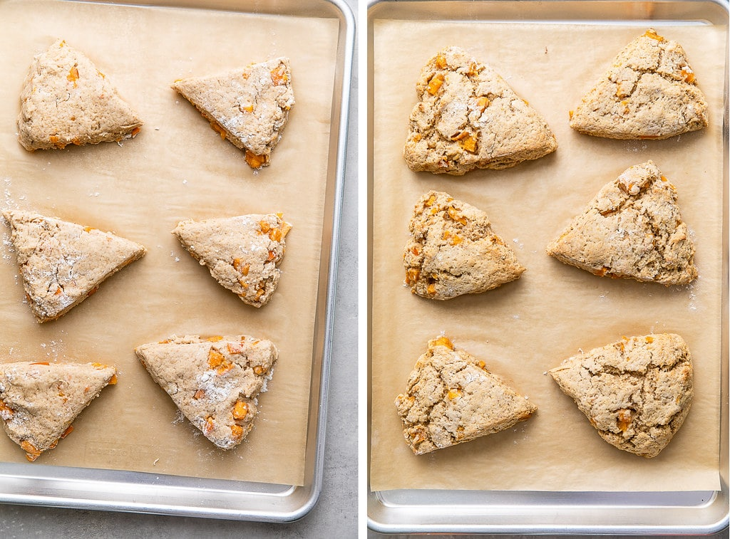 side by side photos of before and after baking vegan ricotta scones with persimmons on a baking sheet.