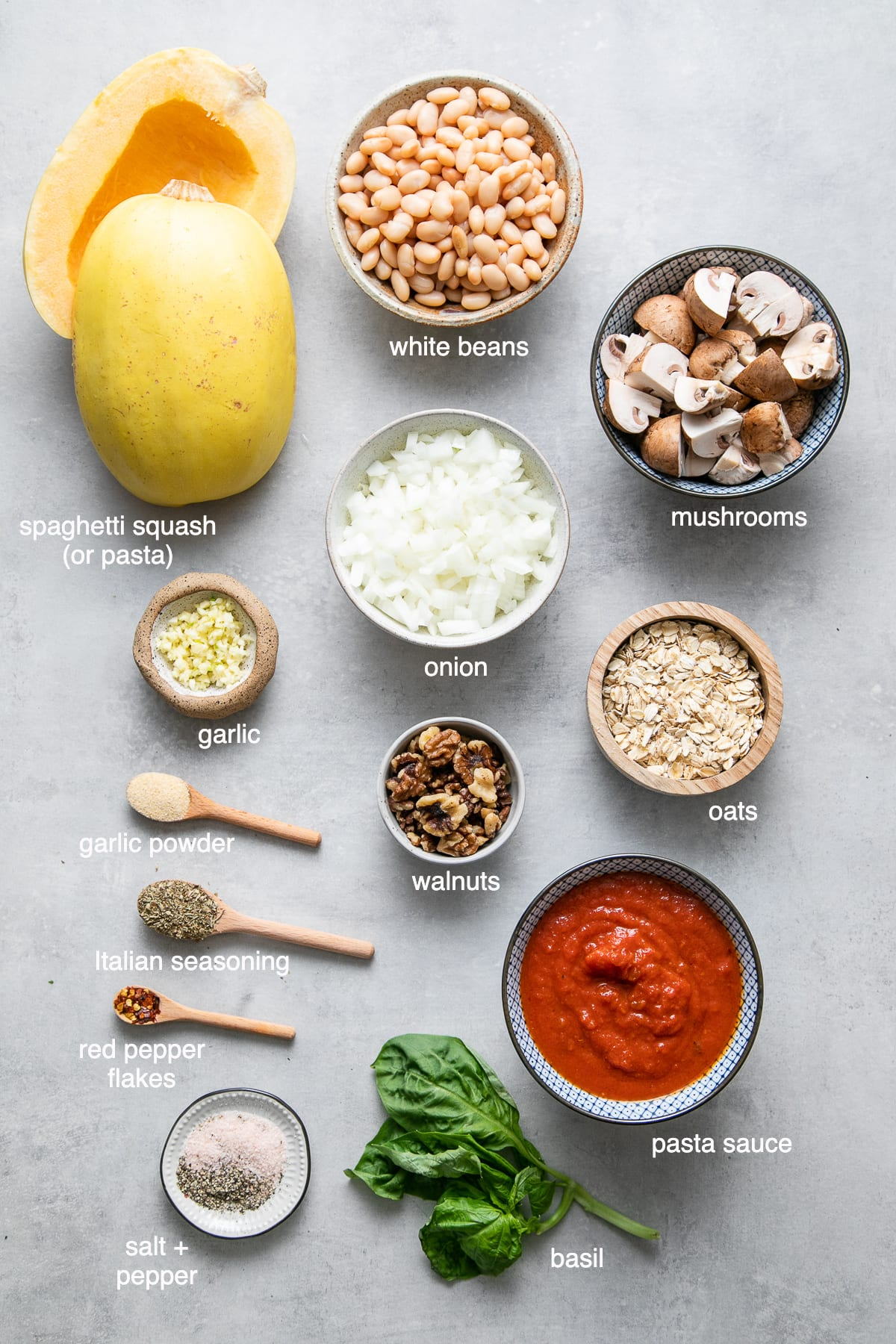 top down view of ingredients used to make spaghetti and vegan meatballs.