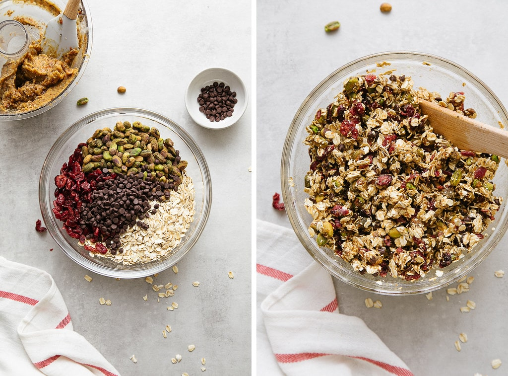 side by side photos showing the process of mixing oatmeal energy bites.