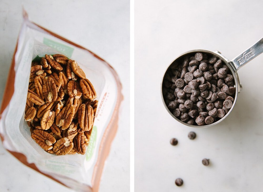 side by side photos of pecans and dark chocolate chips.