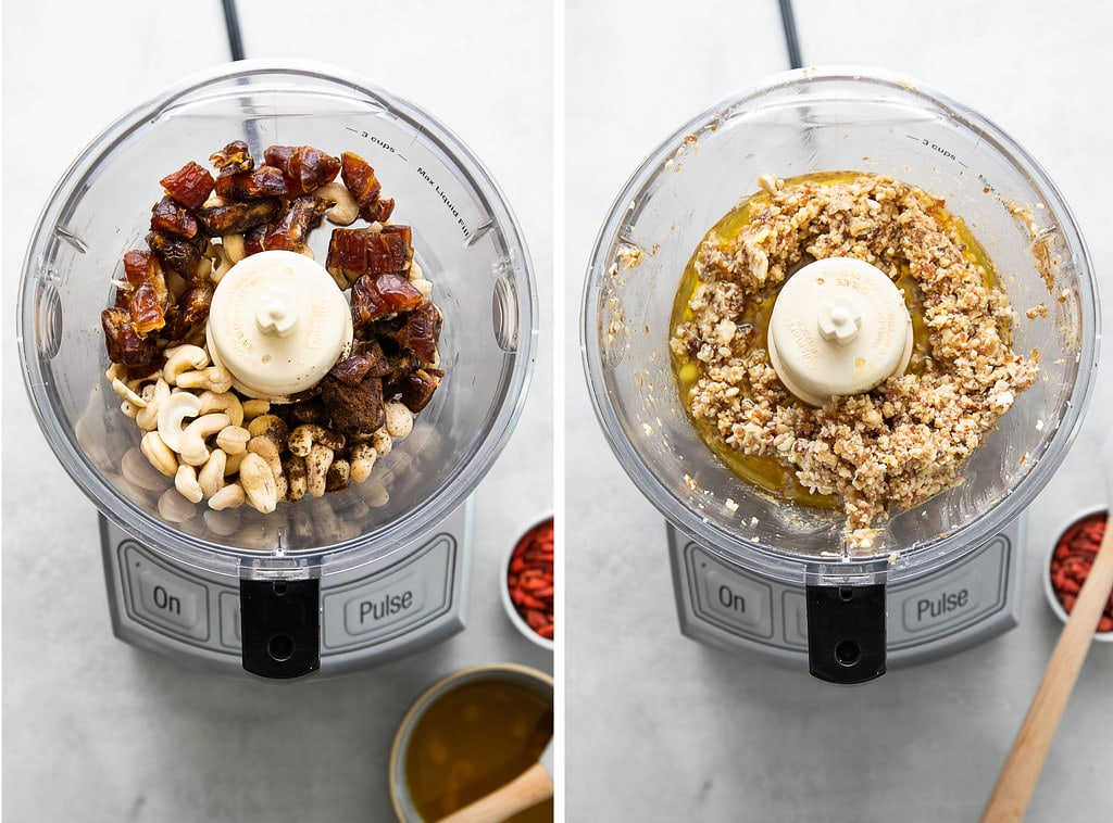 side by side photos showing the process of making truffle mixture in food processor.